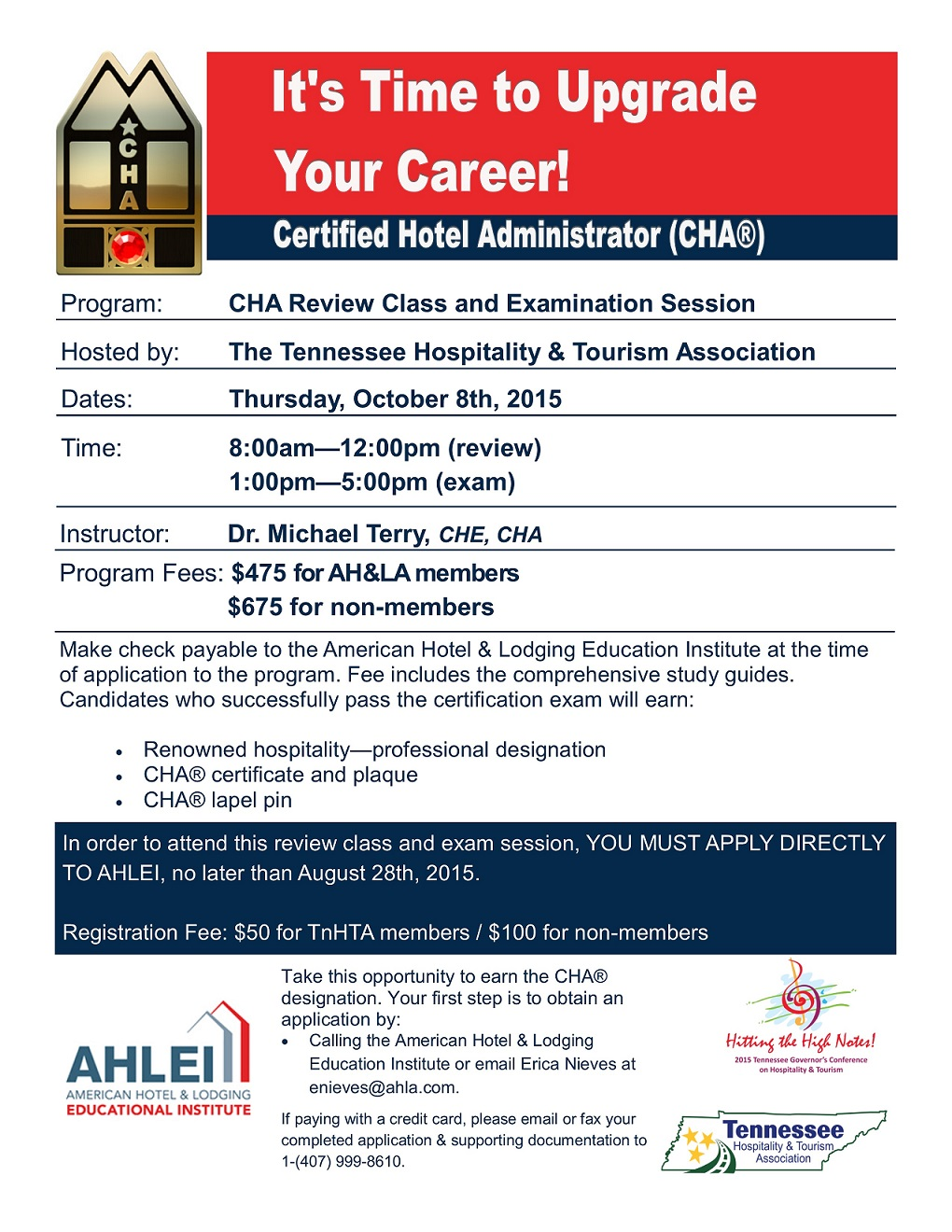 Cha Review Class Examination Session Tennessee Hospitality